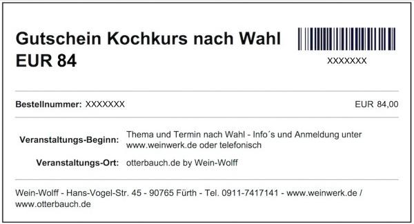 Gutschein Kochkurs nach Wahl EUR 84 (Download)
