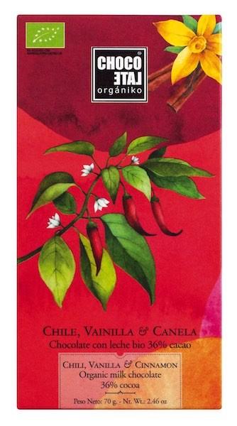 Vollmilchschokolade mit Chili, Vanille und Zimt (BIO)