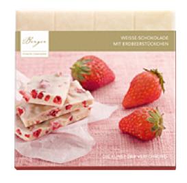 Weisse Schokolade mit Erdbeerstückchen