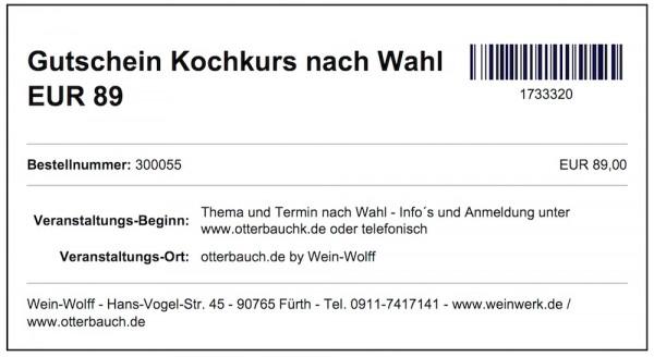 Gutschein Kochkurs nach Wahl EUR 89 (pdf Download)